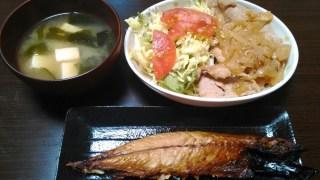 5月3日の食事【生姜焼き&塩サバ】
